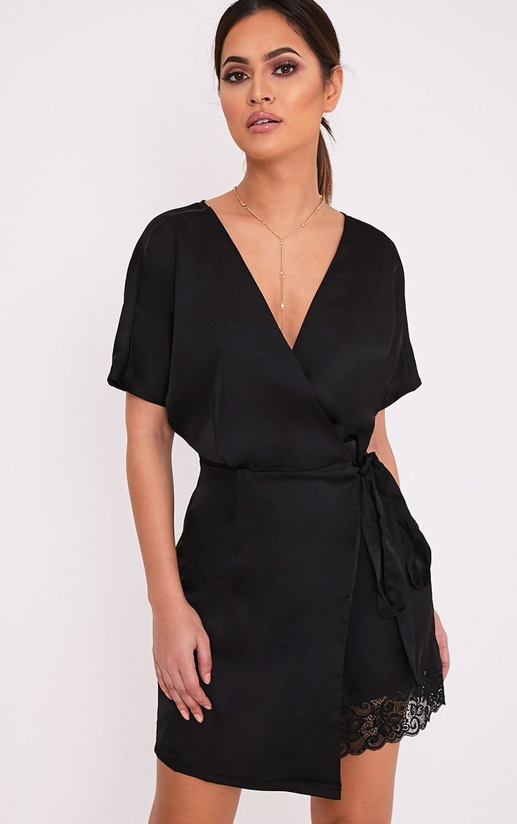 Sereene Black Silky Lace Trim Kimono Dress 1