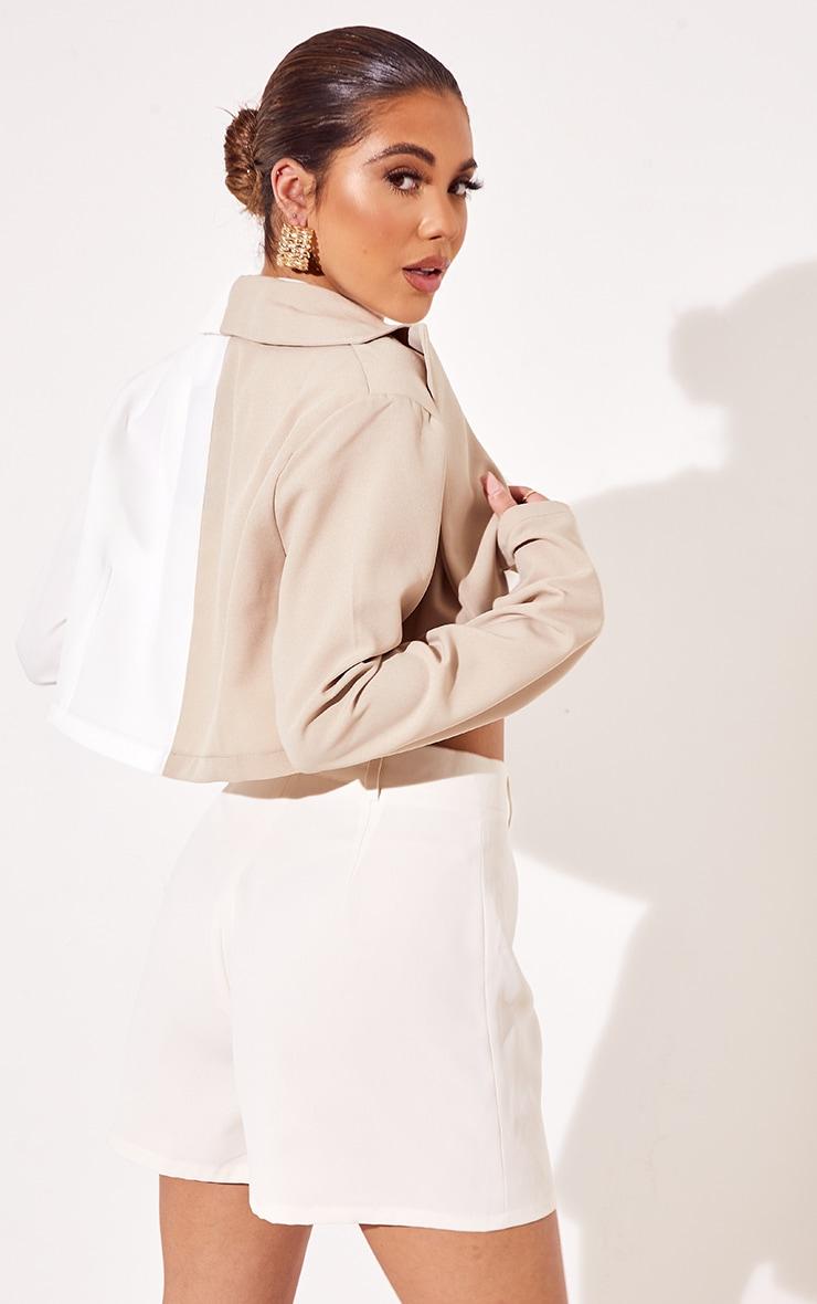 Cream Woven Contrast Cropped Blazer 2