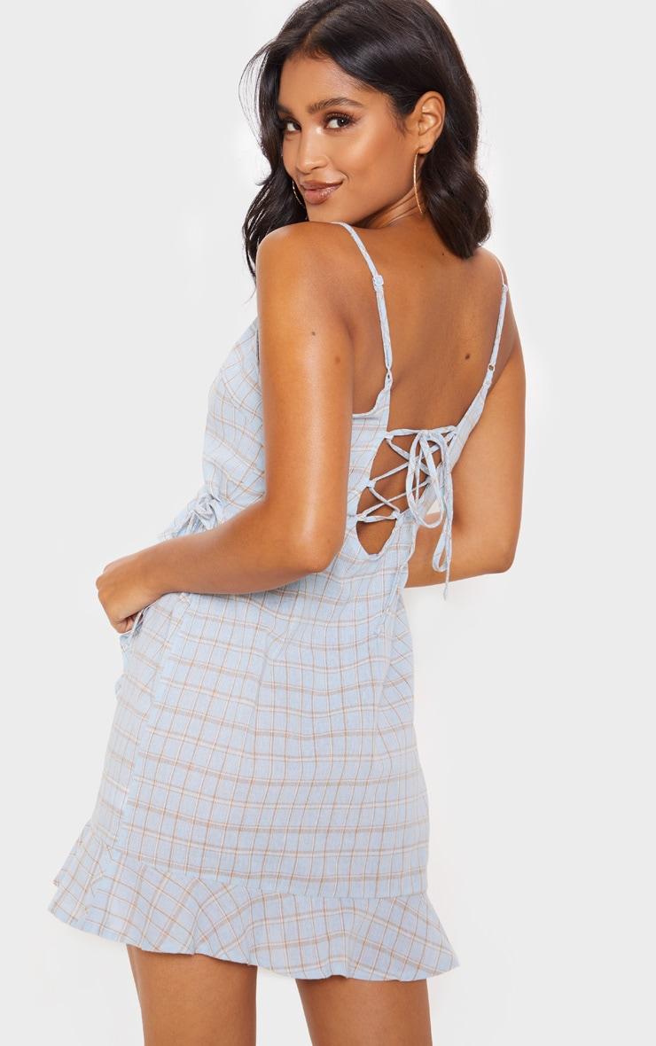 Blue Check Print Lace Up Back Ruffle Tea Dress 2