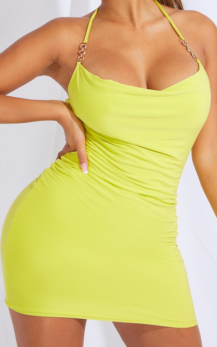 Shape Lime Slinky Chain Detail Halterneck Bodycon Dress 4