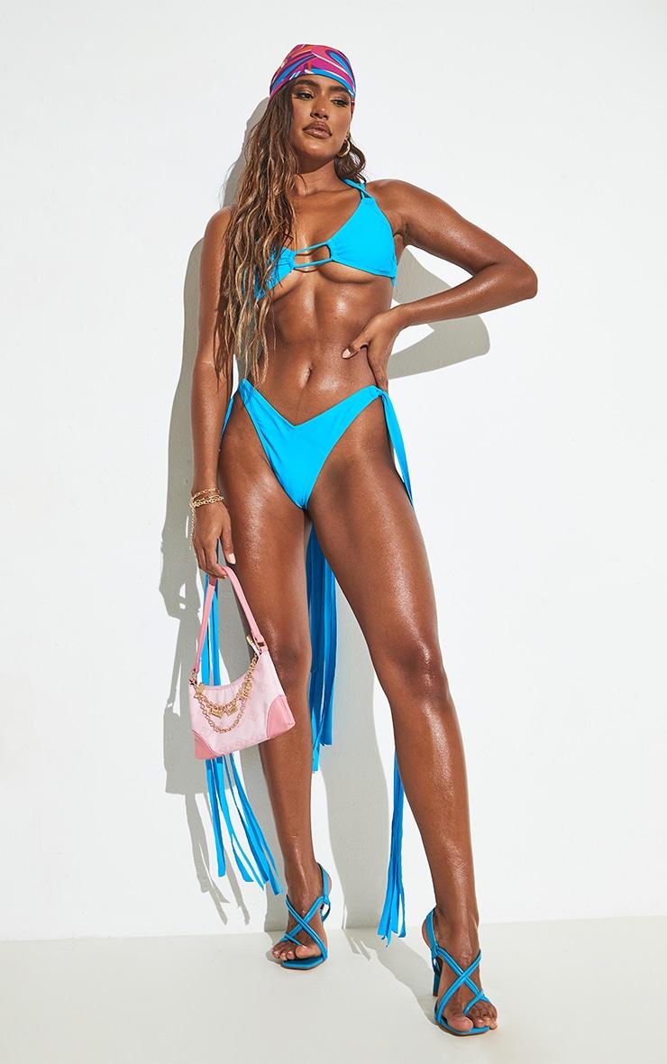 Blue High Leg Tassel Side Bikini Bottoms 6