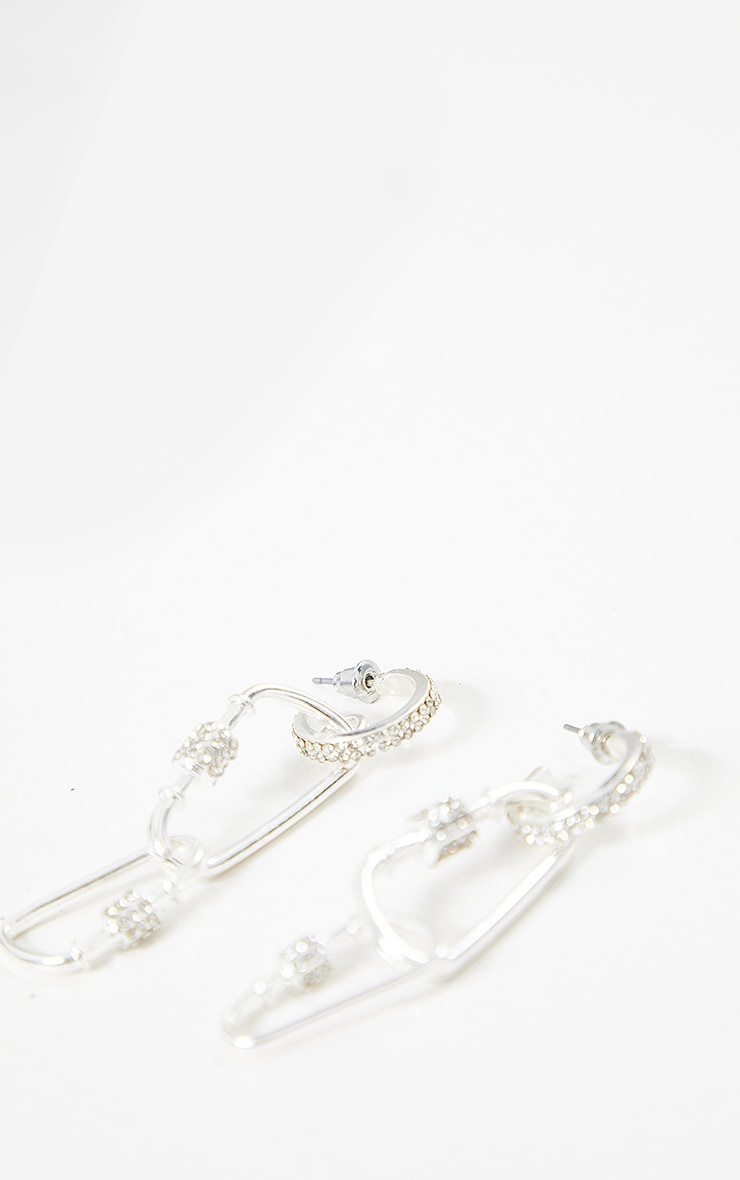 Silver Diamante Layering Clasp Earrings 2