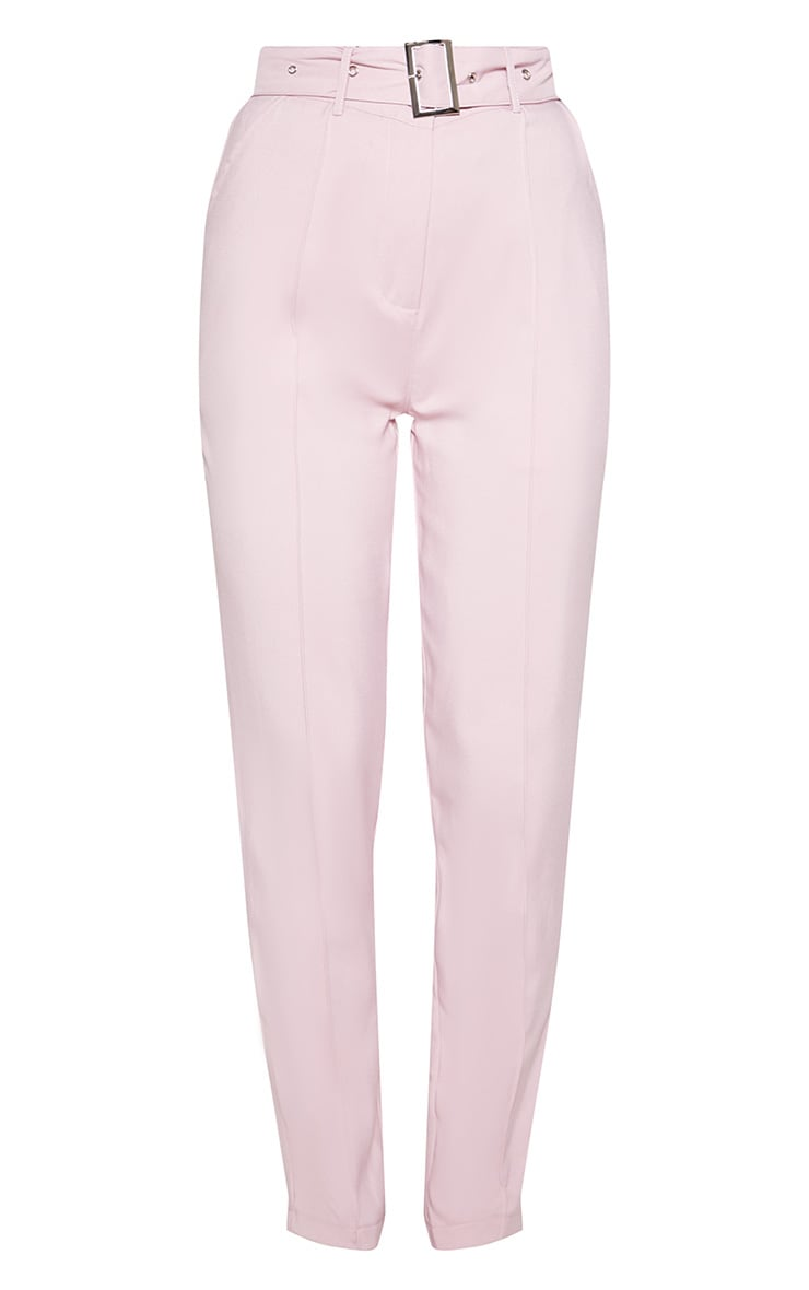 Dusty Pink Belted Tailored Trousers 4