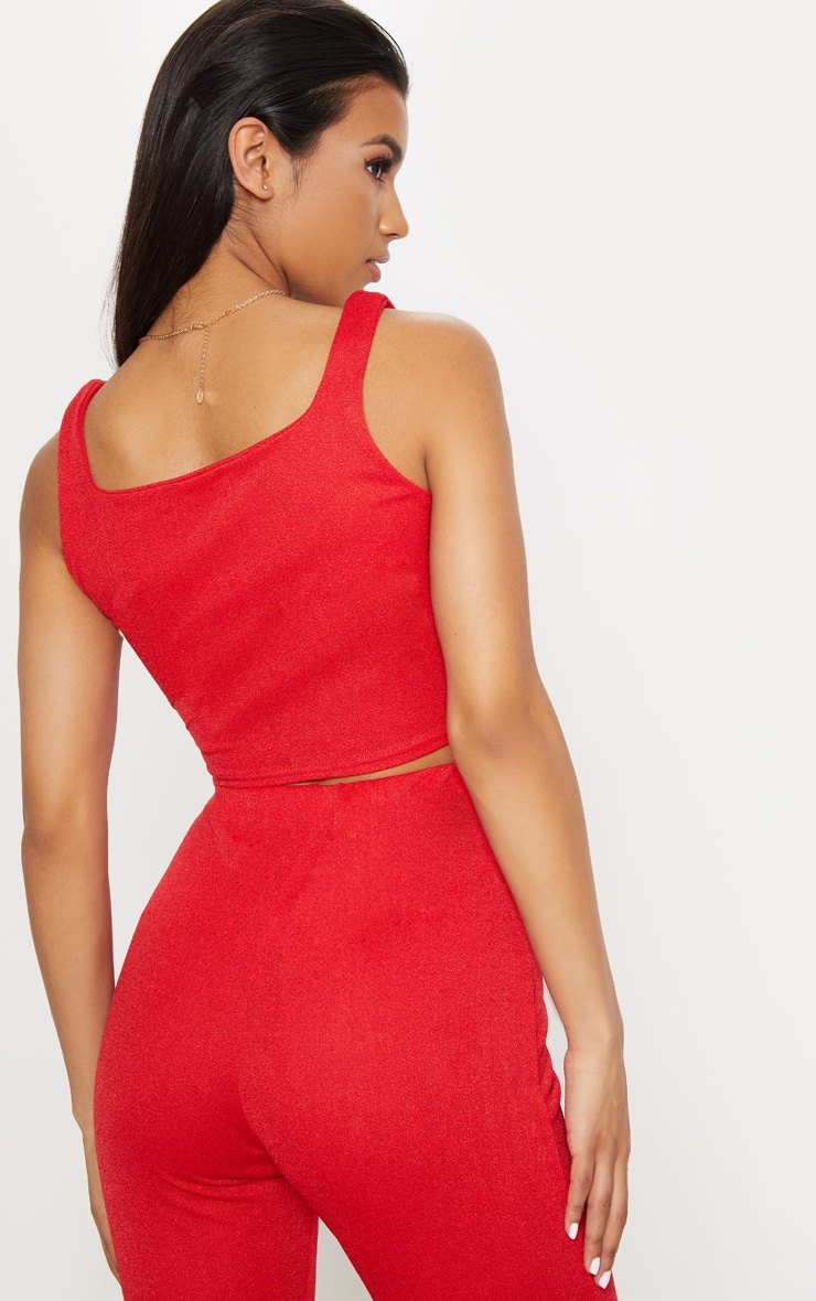Red Stretch Crepe Square Neck Crop Top 2