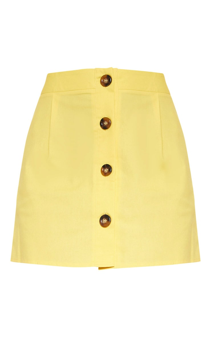 Mini-jupe jaune en coton à boutons devant 3