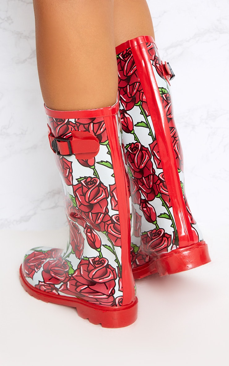 Red Rose Print Long Wellies  4