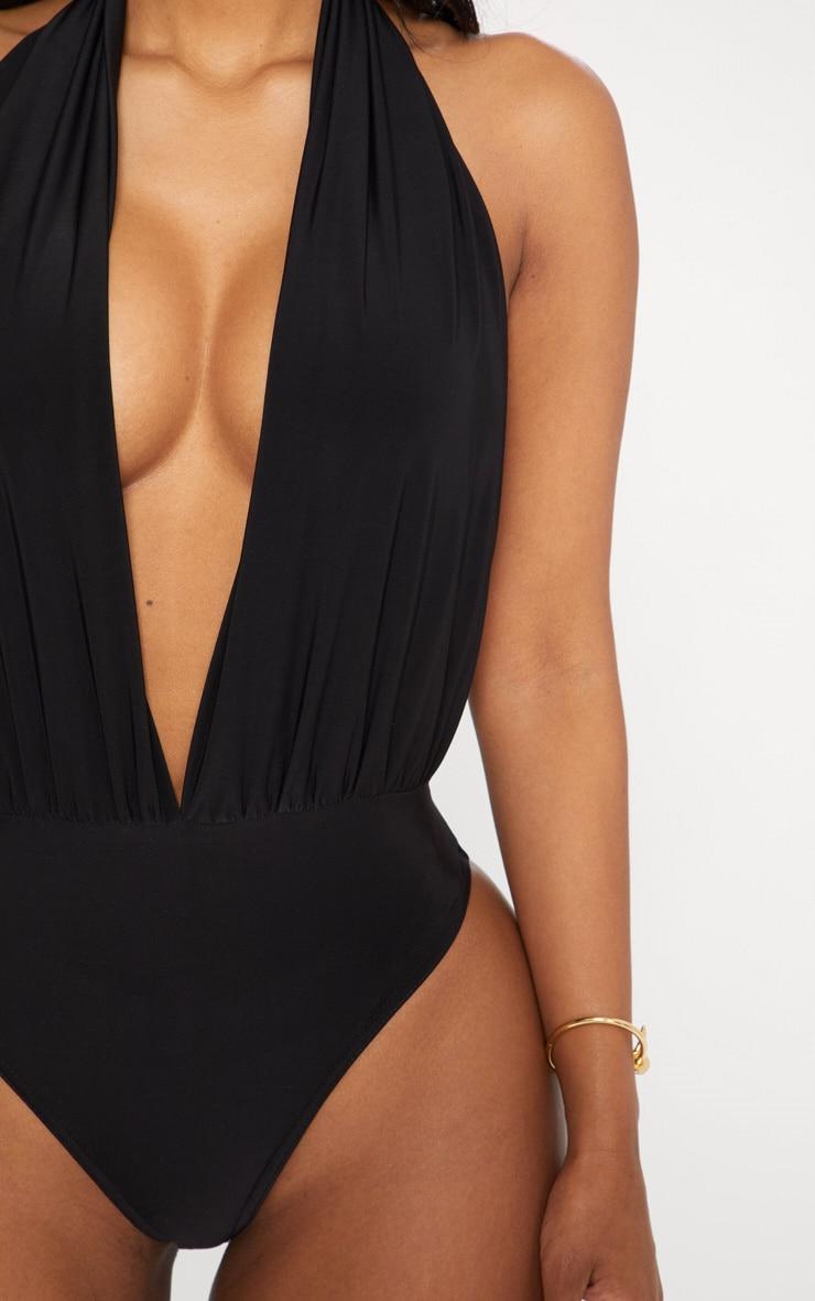 Shape Black Slinky Halterneck Plunge Bodysuit 5