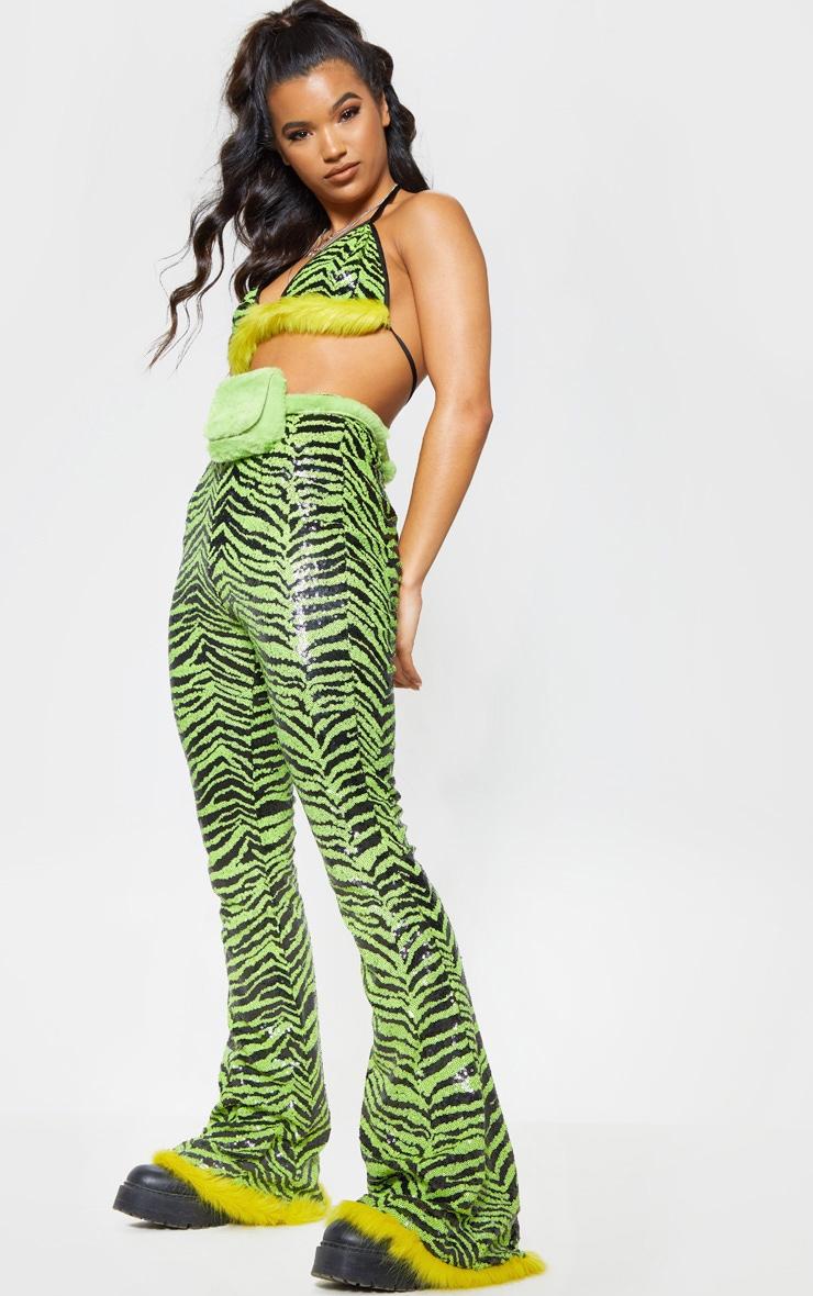 Lime Zebra Sequin Faux Fur Trim Flare Trousers 2