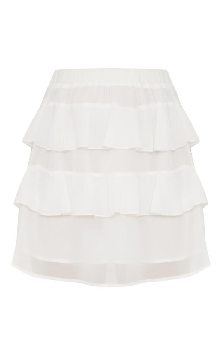 White Chiffon Ruffle Mini Skirt 3