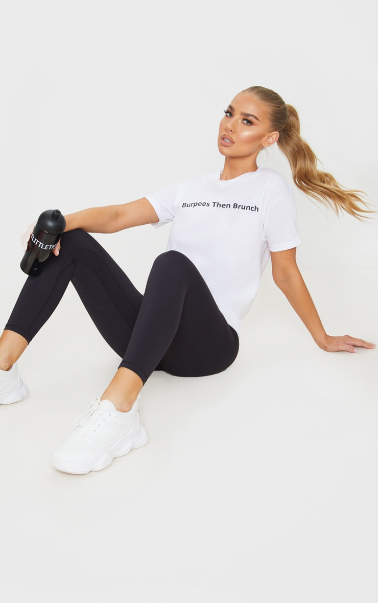 White Burpees Then Brunch Cropped T Shirt 4