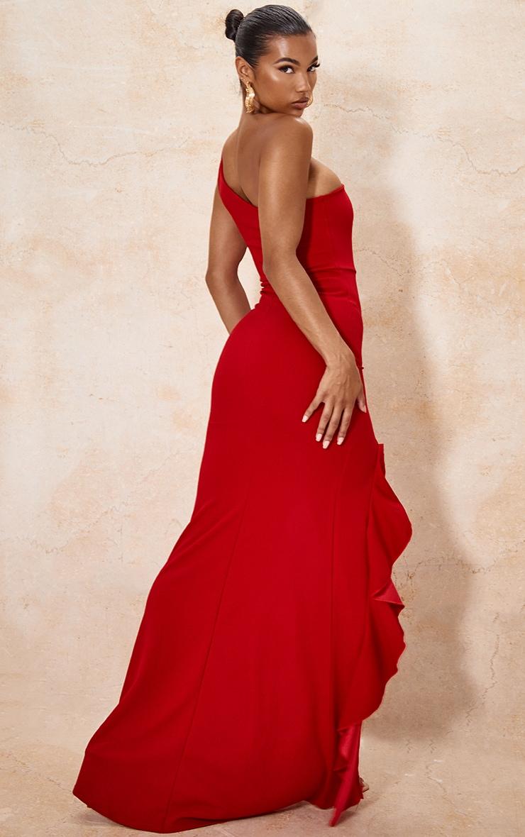 Red One Shoulder Ruffle Hem Maxi Dress 2