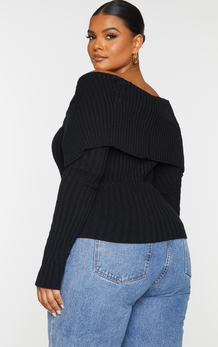 Plus Black Off Shoulder Collar Detail Ribbed Jumper 2