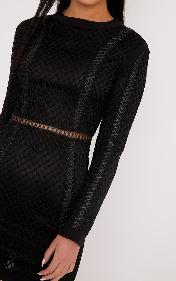 Thea robe moulante noire à empiècement en résille  5