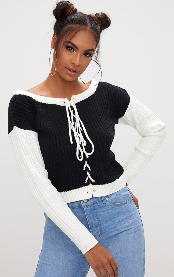 Black Lace Up Cropped Knitted Jumper  1