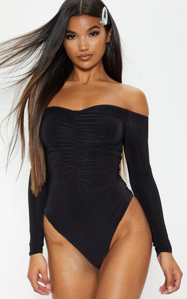 Mella Black Bardot Ruched Slinky Thong Bodysuit 1