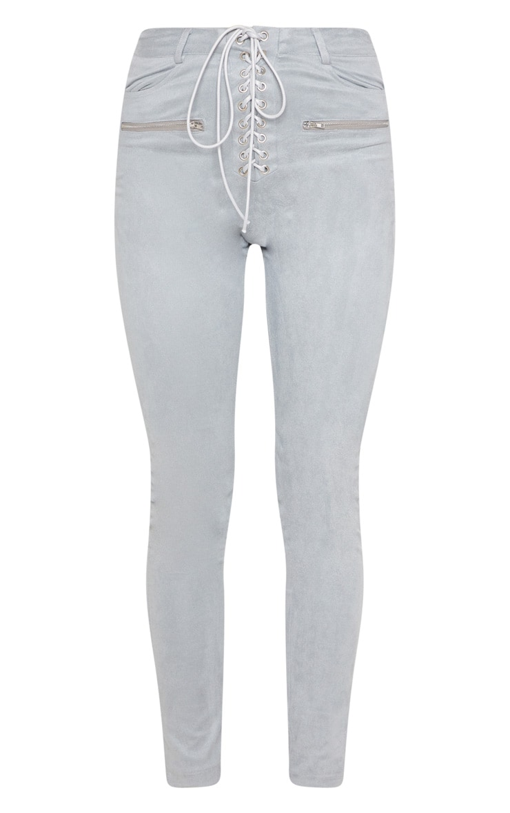 Grey Faux Suede Lace Up Front Skinny Leg Trouser 3