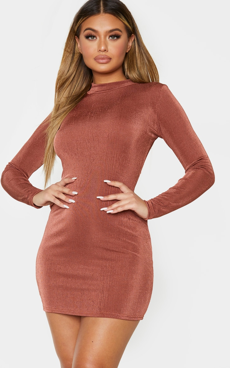 Chocolate Brown Textured Slinky  High Neck Long Sleeve Bodycon Dress 1