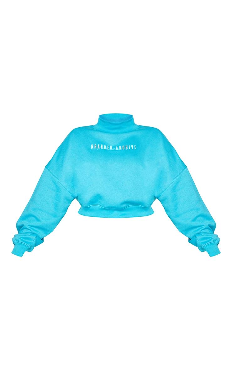 Plus Blue High Neck Crop Sweatshirt 5
