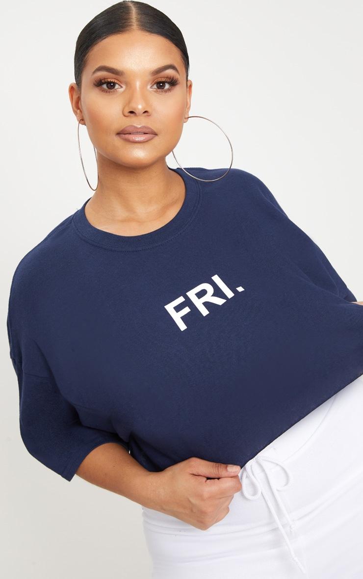 Plus Navy FRI Slogan Cropped T Shirt 5