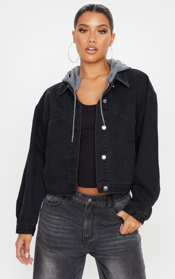 Washed Black Hooded Oversized Denim Jacket 1