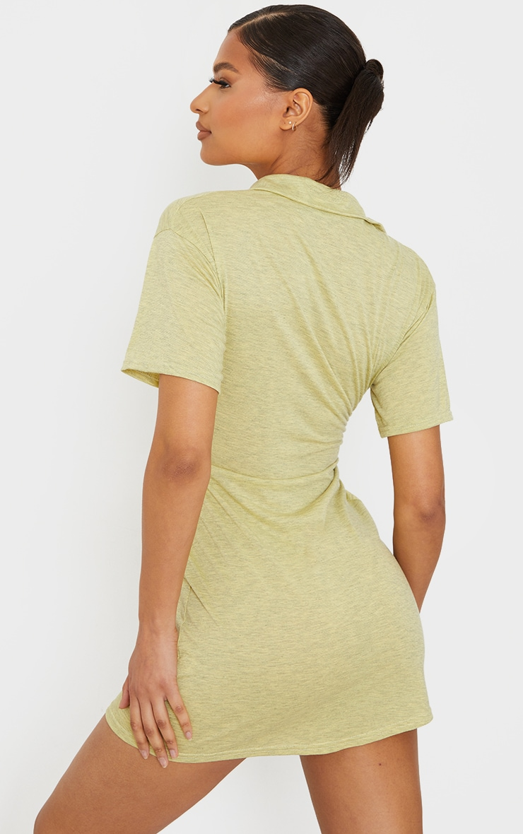 Yellow Marl Polo Collar Pleated Detail Shift Dress 2