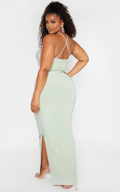 Plus Sage Khaki Slinky Cowl Neck Maxi Dress