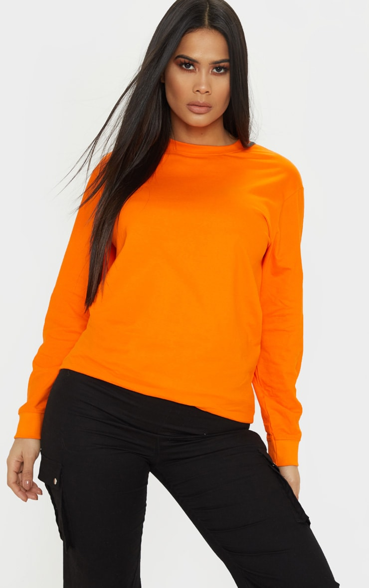 Orange Missing Slogan Printed Long Sleeve T Shirt 2