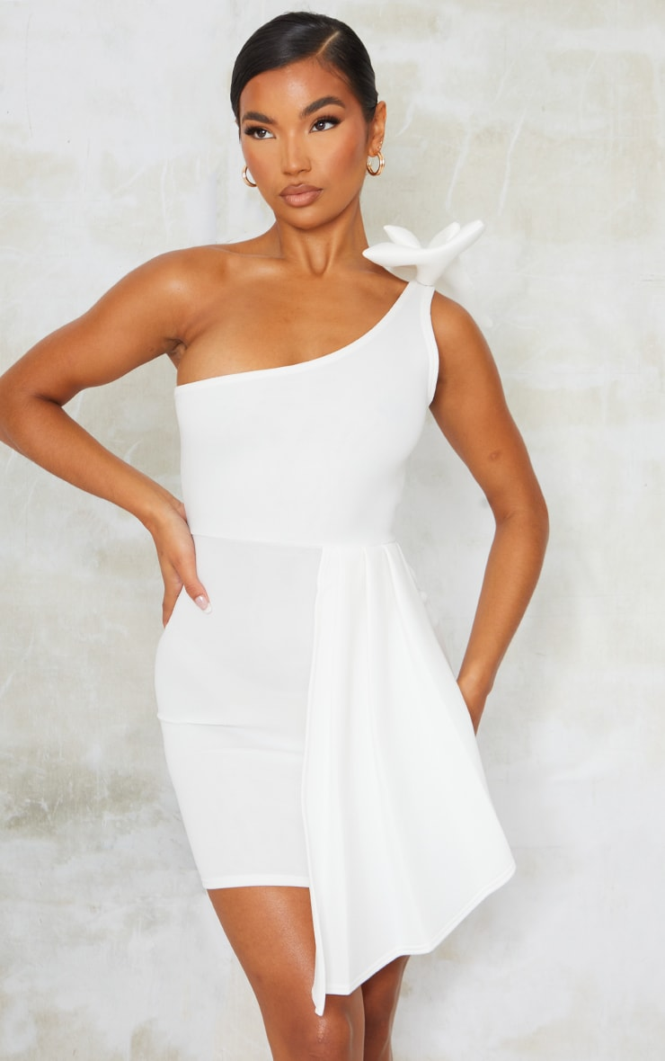 White Bonded Scuba Bow Shoulder Ruffle Bodycon Dress 1