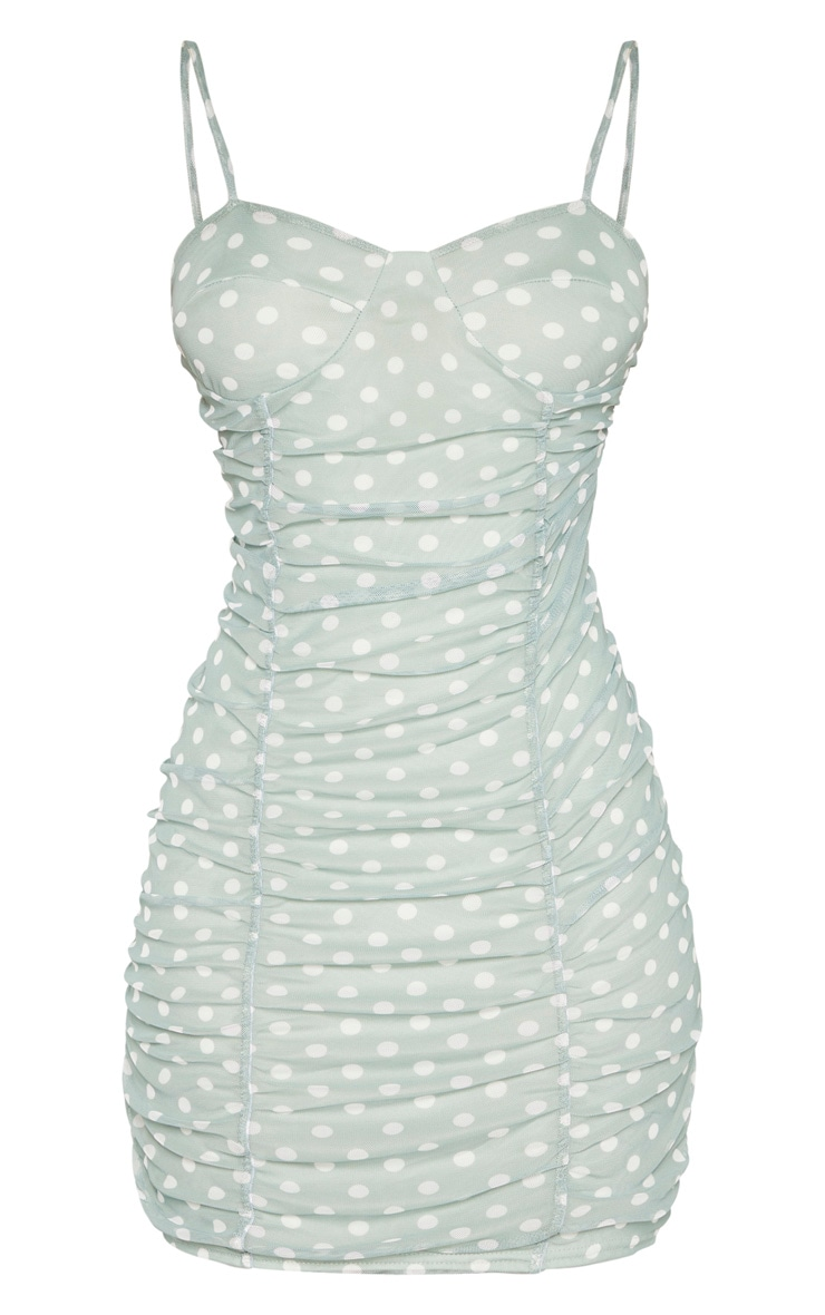 Sage Green Polka Dot Print Mesh Ruched Bodycon Dress 3