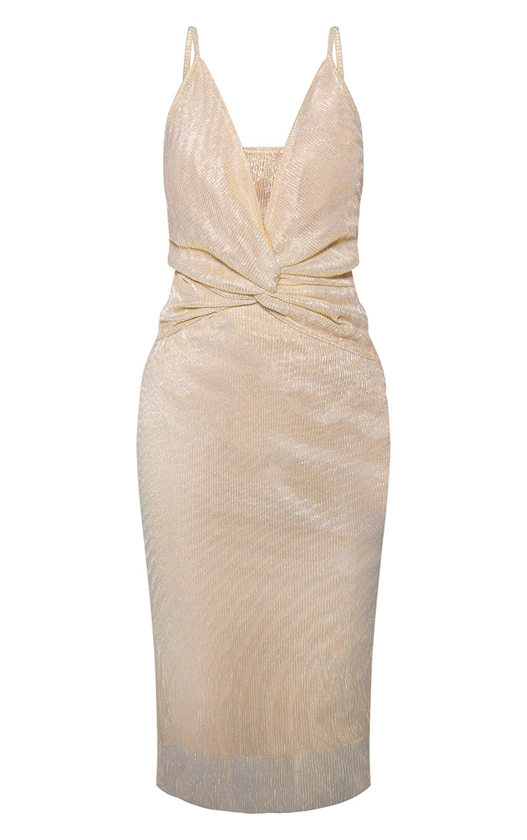Gold Metallic Plisse Strappy Knot Front Midi Dress 3