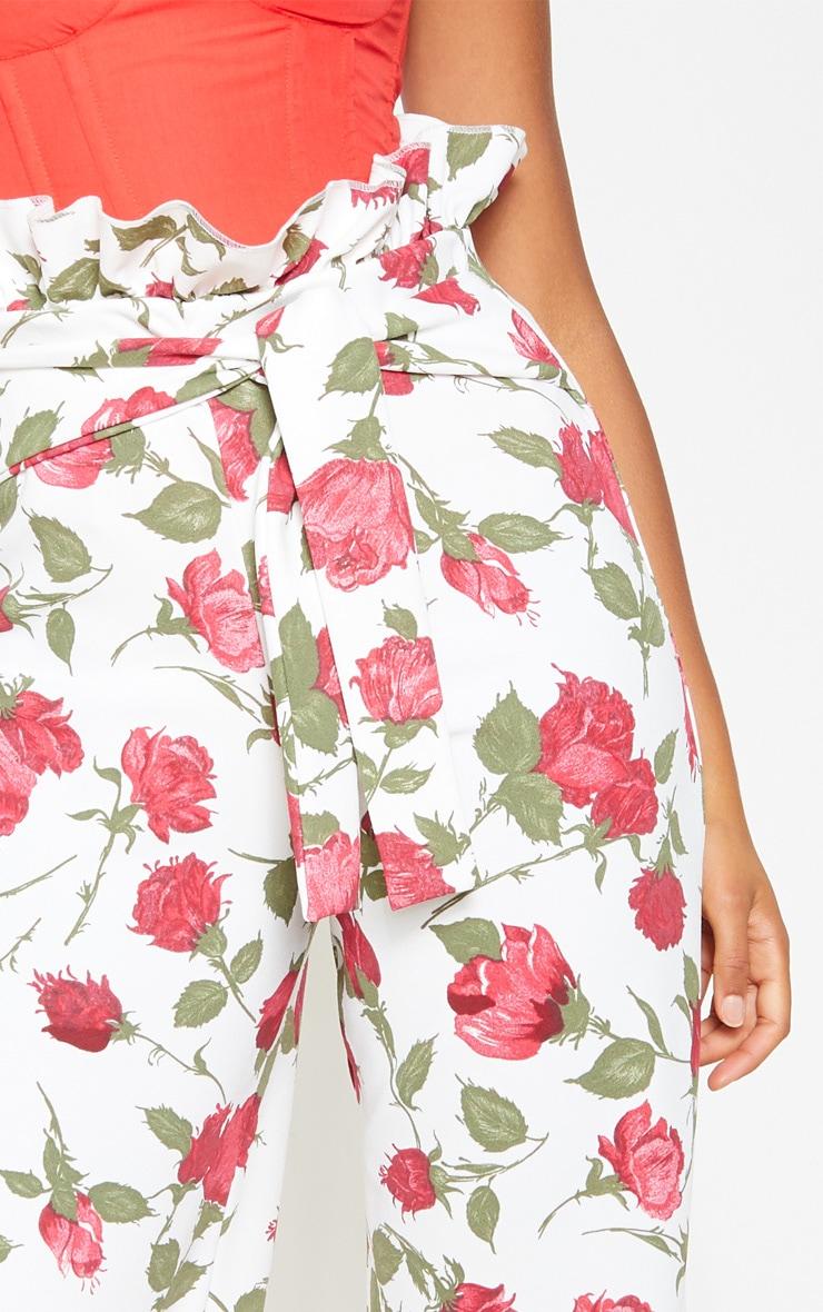 Rose Print Crepe Paperbag Wide Leg Pants 5