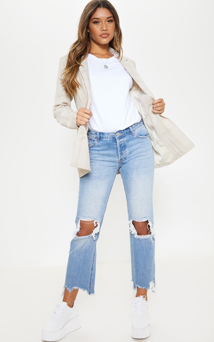 Mid Wash Low Rise Distressed Knee Rip Jeans 1