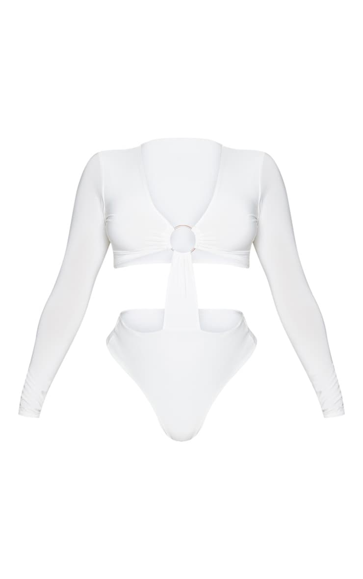 Cream Slinky Plunge O Ring Cut Out Detail Bodysuit 5