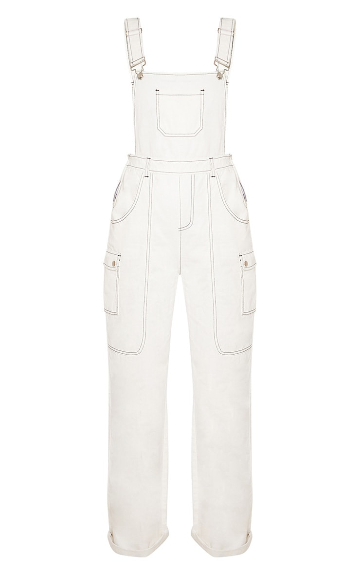 White Denim Wide Leg Dungarees 4