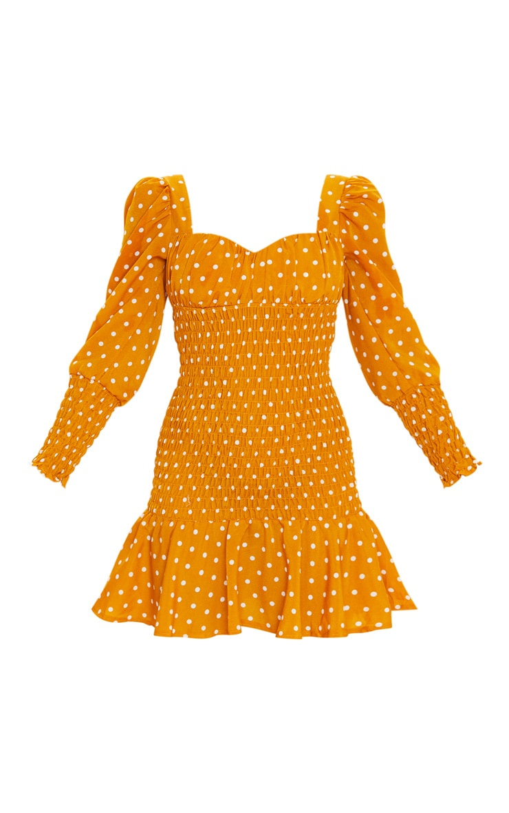 Mustard Polka Dot Shirred Long Sleeve Bodycon Dress 3