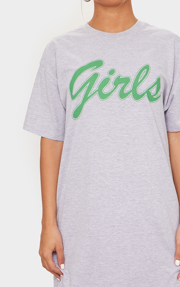 Grey Marl Girls Slogan Print T Shirt Dress 4
