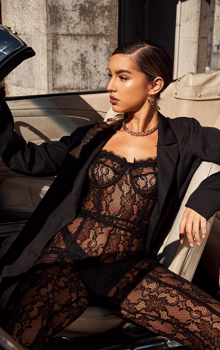 Black Sheer Lace Strappy Corset Top 1