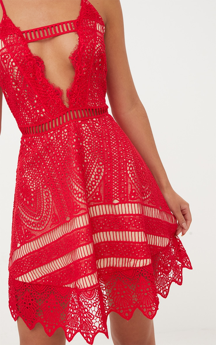 Red Crochet Lace Plunge Strappy Skater Dress 5