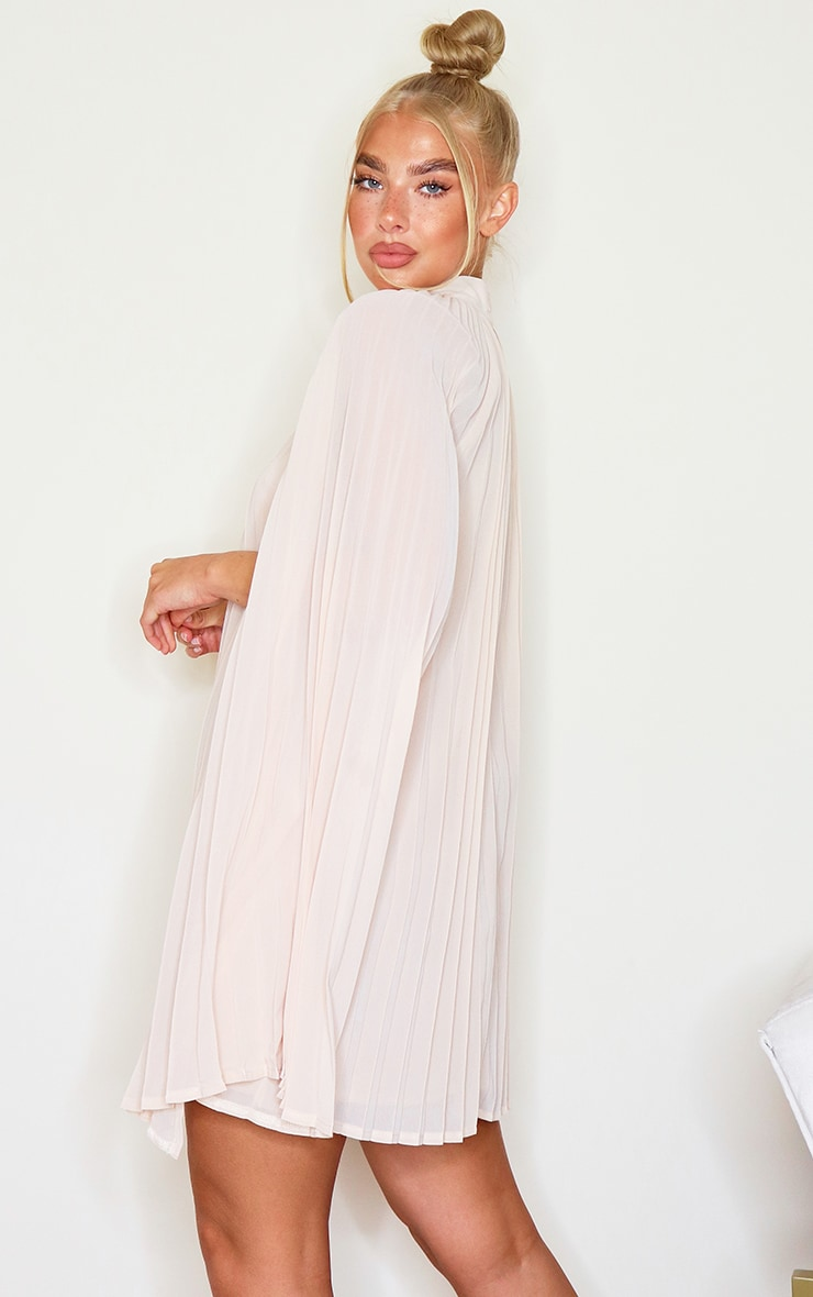 Nude Pleated Cape High Neck Shift Dress 2