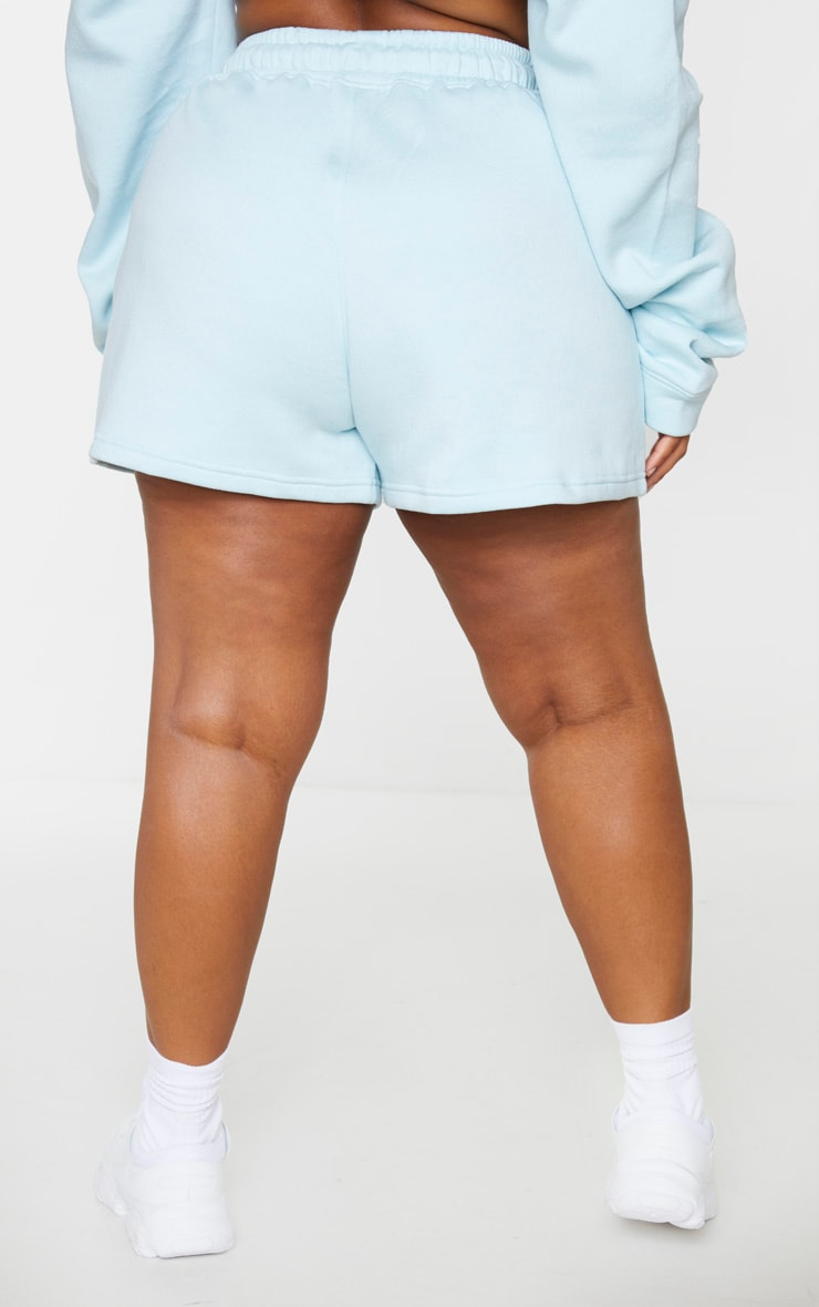 PRETTYLITTLETHING Plus Dusty Blue Sweat Shorts 3