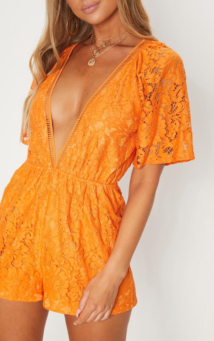Orange Lace Flared Sleeve Playsuit 4