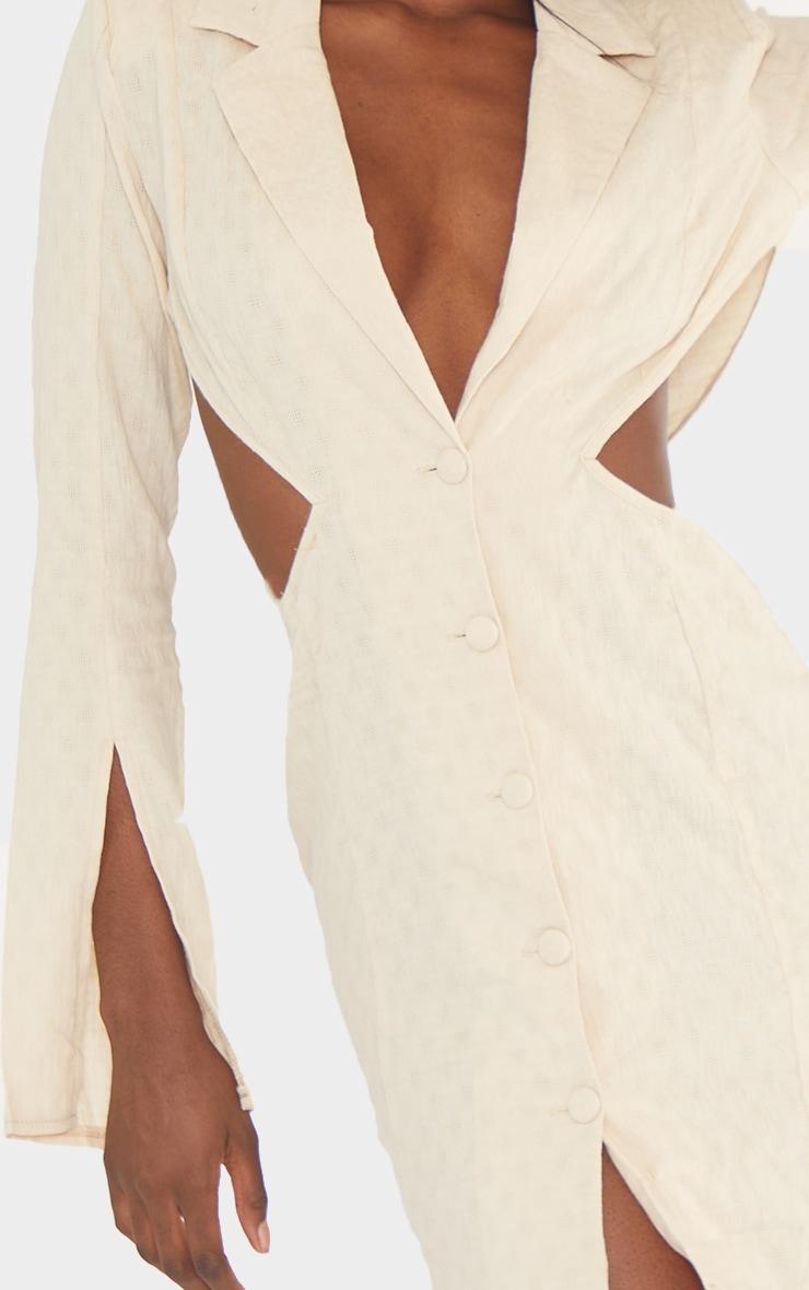 Tall  Stone Textured Shoulder Pad Cut Out Blazer Dress 4