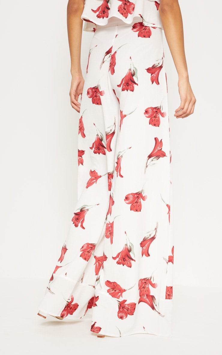White Floral Printed Wide Leg Trouser 4