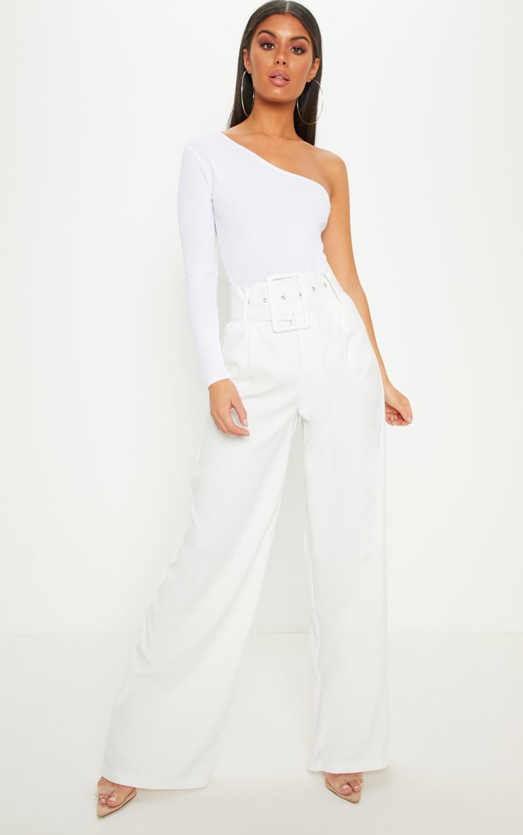 White Super High Waisted Belted Wide Leg Trouser