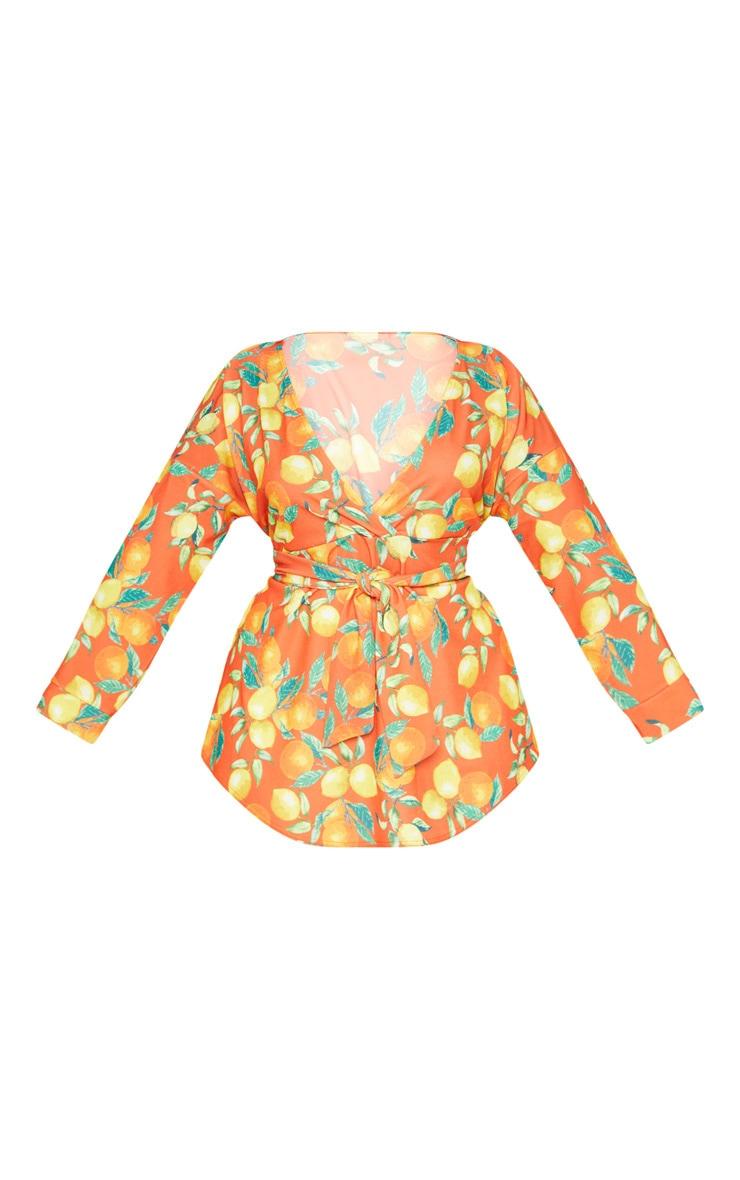 Plus Orange Printed Tie Waist Blouse  3