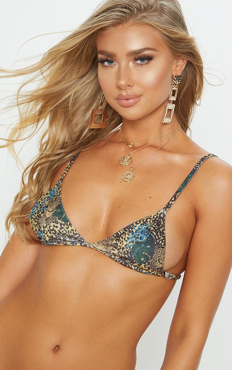 Yellow Mixed Leopard Itsy Bitsy Bikini Top 6