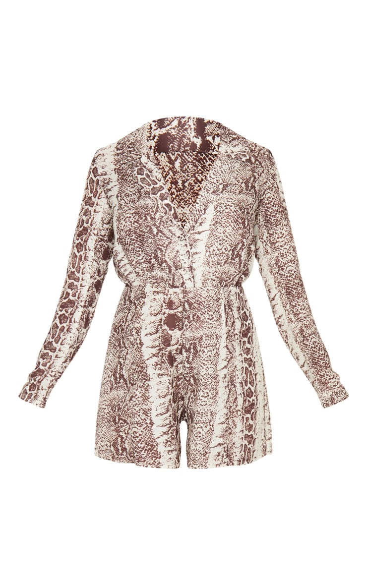 Petite Taupe Snake Print Button Front Long Sleeve Satin Playsuit 3