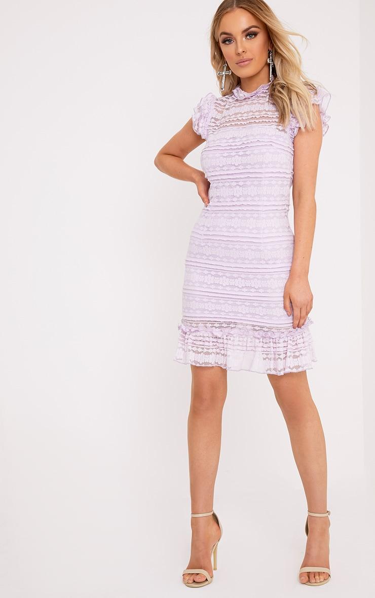 Clariya Lilac Frill Neck Ruffle Layer Lace Bodycon Dress 3