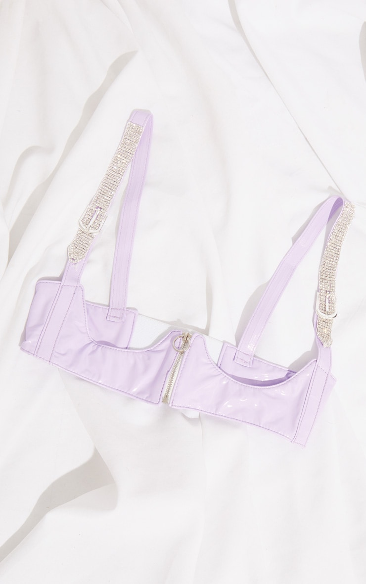 Lilac PU Diamante Trim Corset 3