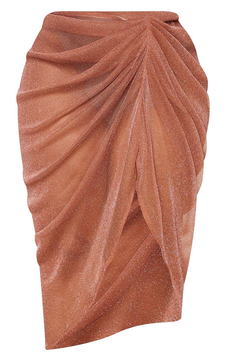 Plus Brown Sheer Glitter Ruched Midi Skirt 5